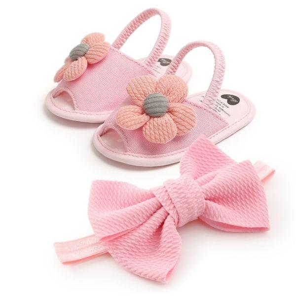 Newborn Baby Girls Sandal Shoes Cute Flower Breathable Anti-Slip pink 13-18 months