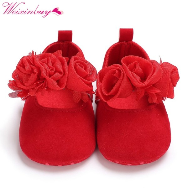 Rose Flower Cotton Farbic Baby Shoes Newborn Girl Soft Shoes haze blue s