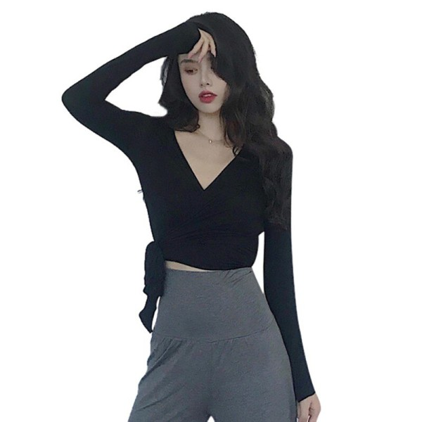 Sexig V-ringad Wrapped Bandage Crop Tops Skinny Ruched Tshirt Tops
