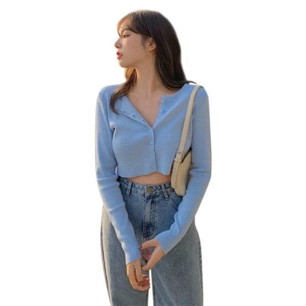 Smala T-shirts stickad kofta Kvinnlig stickad kortärmad topp
