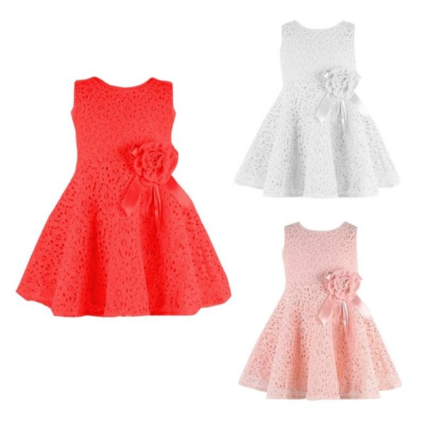 Sommar baby flickor barn spets blommiga klänning
