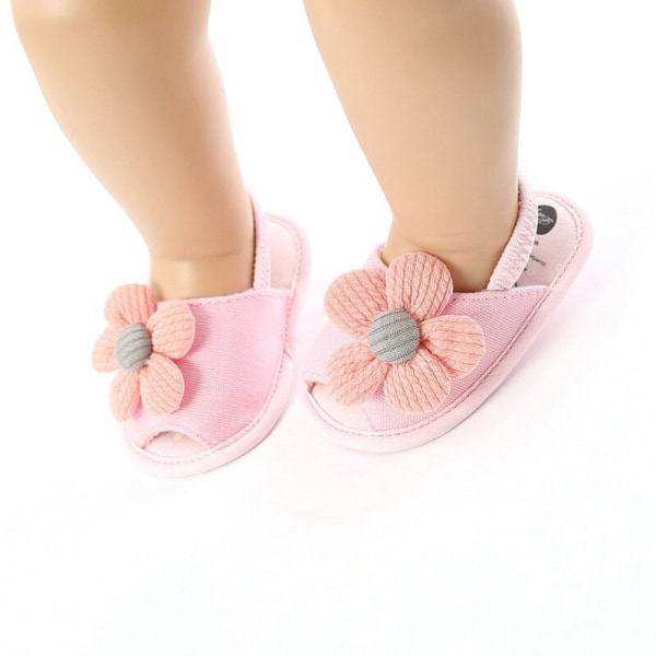 Summer Boys Girls Sandals Cute Flower Breathable Anti-Slip Shoe white 0-6 months