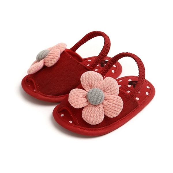 Summer Boys Girls Sandals Cute Flower Breathable Anti-Slip Shoe red 13-18 months