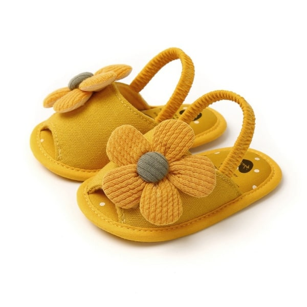 Summer Boys Girls Sandals Cute Flower Breathable Anti-Slip Shoe yellow 0-6 months 0-6 mont