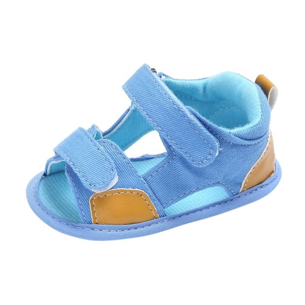 Summer Breathable Baby Boy Kid Splice Color Hollow Out Anti-skid sky blue 7-12 months