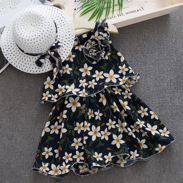 Sommar nyfödda sundress hattar 6st kläduppsättning soldräkt