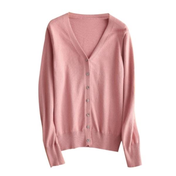 Tunn V-ringad långärmad stickad kofta-tröja för kvinnor