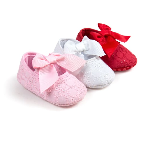 Toddler Baby Shoes Non-Slip Bowknot Princess Shoes Infant Slip white 7-12 months