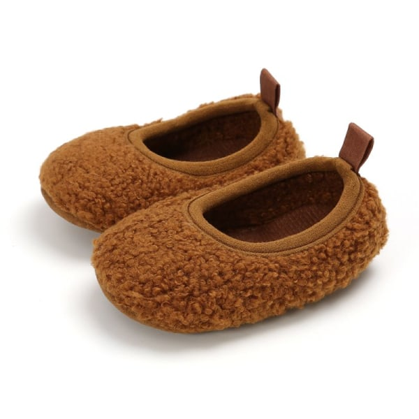 Toddler Girl Snow Boots Shoes Winter Cotton Warm Soft Sole Plush brown 13-18 months