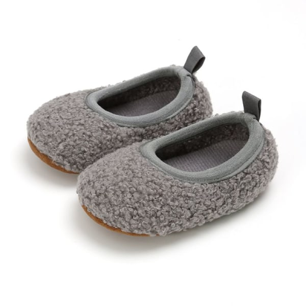 Toddler Girl Snow Boots Shoes Winter Cotton Warm Soft Sole Plush gray 0-6 months