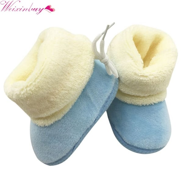 Winter Newborn Baby Prewalker Shoes Infant Toddler Soft Shoes sky blue m