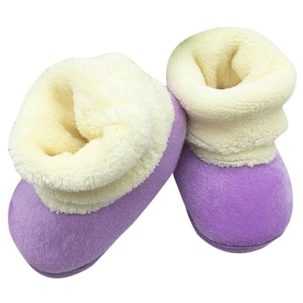 Winter Newborn Baby Prewalker Shoes Infant Toddler Soft Shoes lavender m