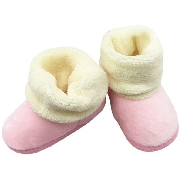 Winter Newborn Baby Prewalker Shoes Infant Toddler Soft Shoes pink m