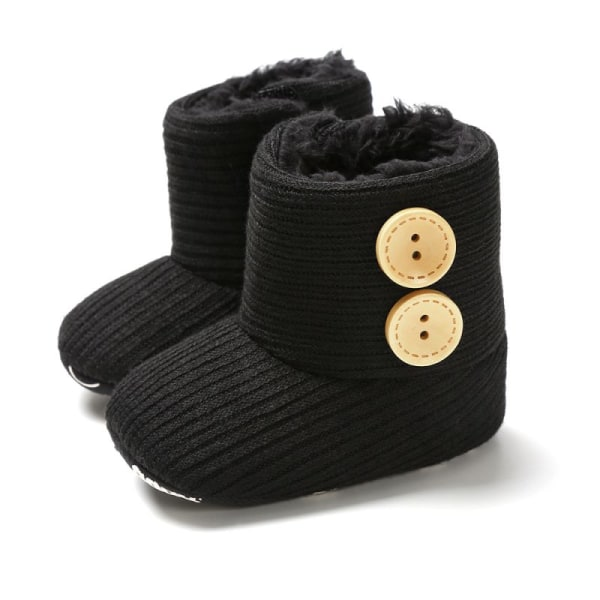 Winter Warm Fur Newborn Baby Boots Winter Infant Girls Shoes black 7-12 months
