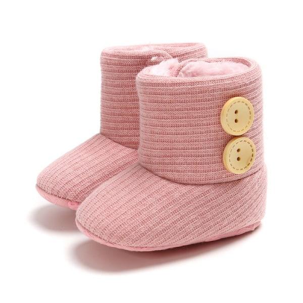 Winter Warm Fur Newborn Baby Boots Winter Infant Girls Shoes pink 7-12 months