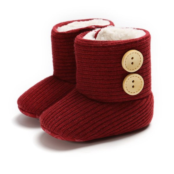Winter Warm Fur Newborn Baby Boots Winter Infant Girls Shoes red 13-18 months
