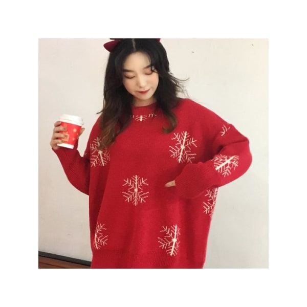 Kvinnor jul lös höst vinter tröja koreanska tröjor