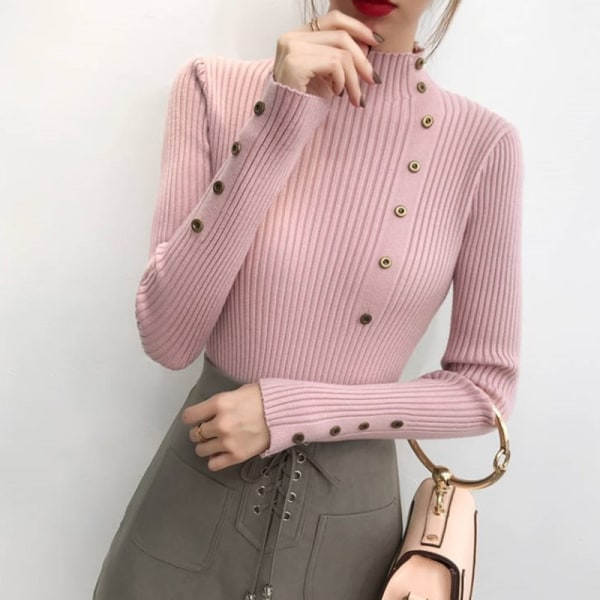 Women Elegant Long Sleeve Turtleneck Bottoming Slim Sweater pink one size