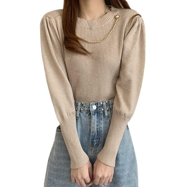 Kvinnamode Långärmad tröja Top Warm Trim Winter Sweater