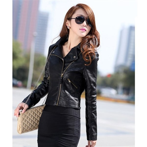 Women Leather Motorcycle Zipper collar Punk Coat Biker Jacket black XXXL