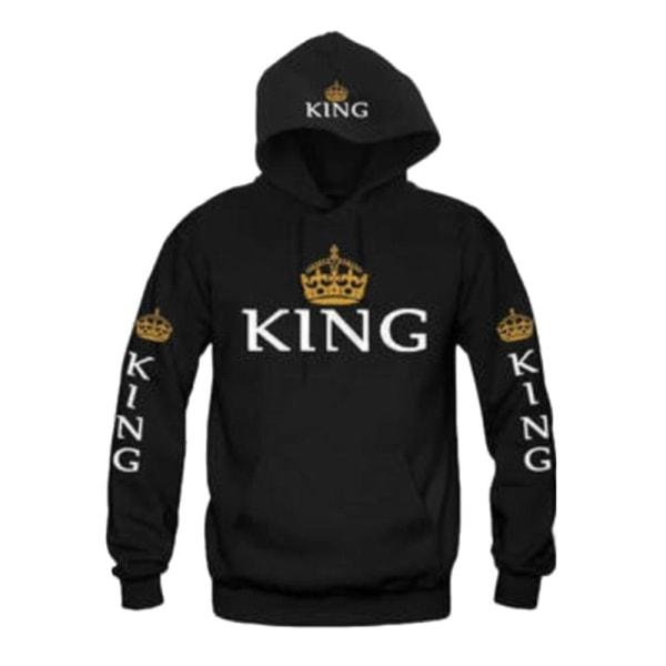 Women Men Pullovers King Queen Printed Hoodies Sweatshirt black men XL