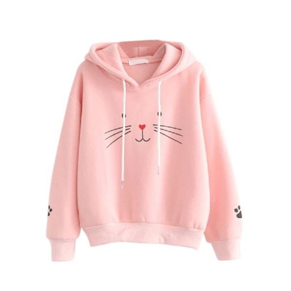 Women Plus Velvet Warm Cute Cat Print Pullover Hoodies Tops pink S