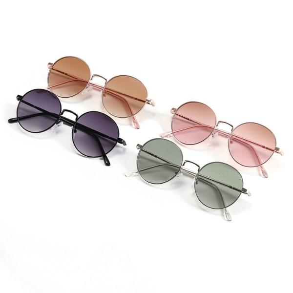 Kvinnor runda solglasögon Metal Frame Circle kvinnliga solglasögon