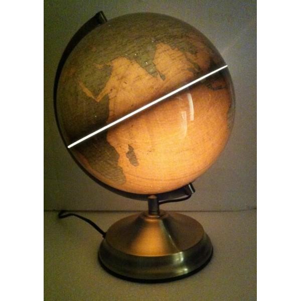 Jordglob med belysning d25cm Jordglobslampa svart mässing guld multifärg