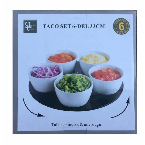 Skålset Taco 6 delar 33cm snurrbricka Vit