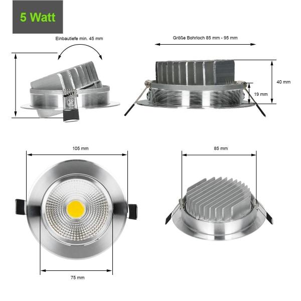 5x LED COB infällda spotlights infälld armatur Spotlight lampa