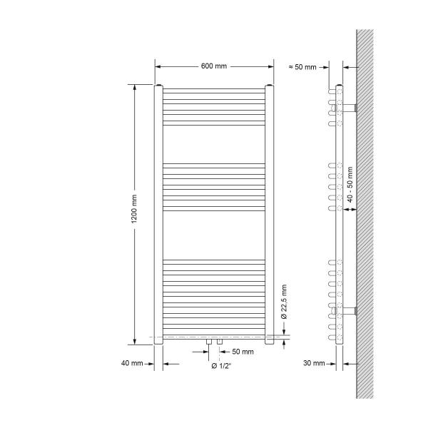 600 X 1200 mm KROM badrumsradiatorn central radiatorer