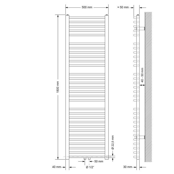 Badrums radiatorer med golvanslutning anslutningsuppsättning