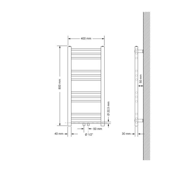 Badrums radiatorer med universalanslutning