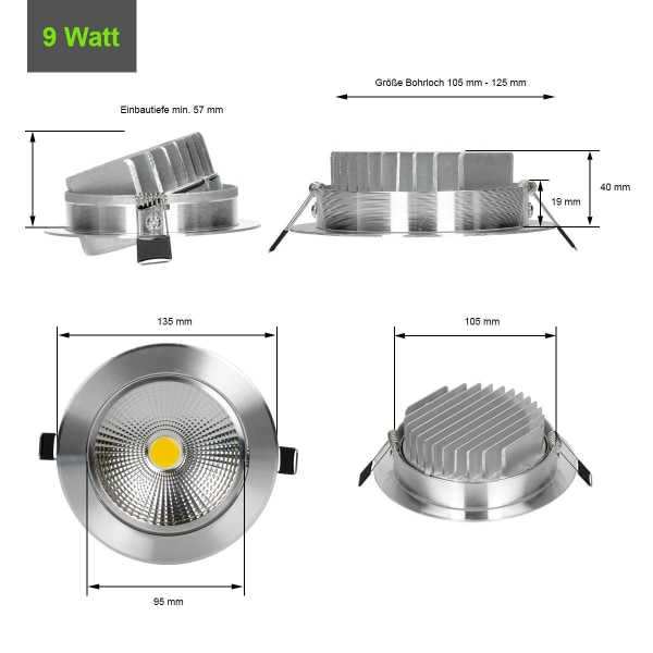 ECD Germany 2-pack LED infälld ljus COB 9W 230V - silver -