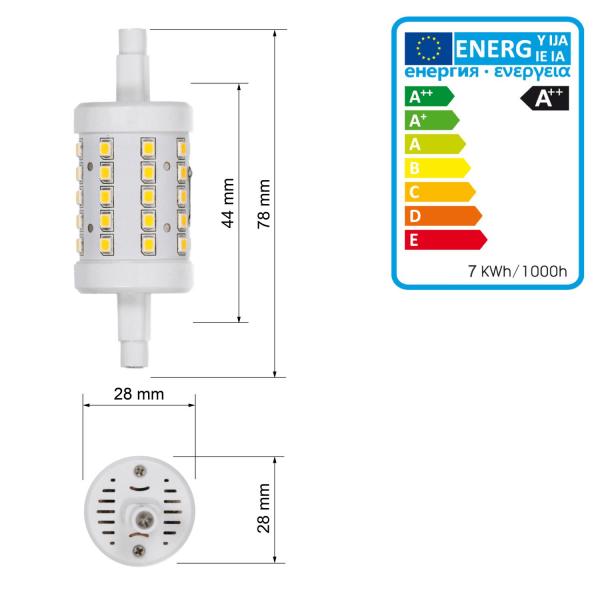 ECD Germany 2 pack R7S LED-lampor 7W 78mm 480 lumen AC 220-240V