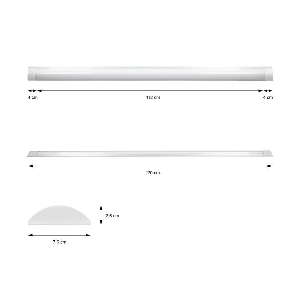 ECD Germany 2 x LED taklampa - 1200 mm - 36W - AC 220-240V 2618