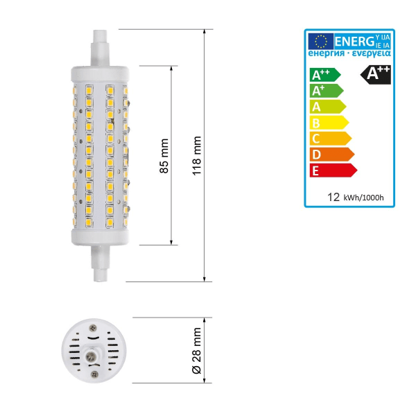 ECD Germany 3 pack R7S LED-lampor 12W 118mm 720 lumen AC