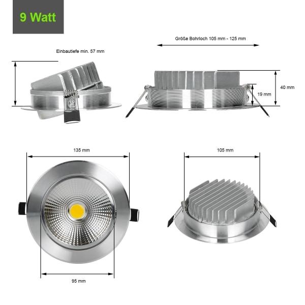 ECD Germany 8-Pack LED infälld ljus COB 9W 230V - silver -