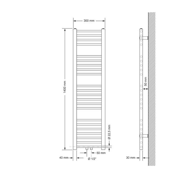 ECD Germany Handduk - 300 x 1400 mm - Vit - särskilt med