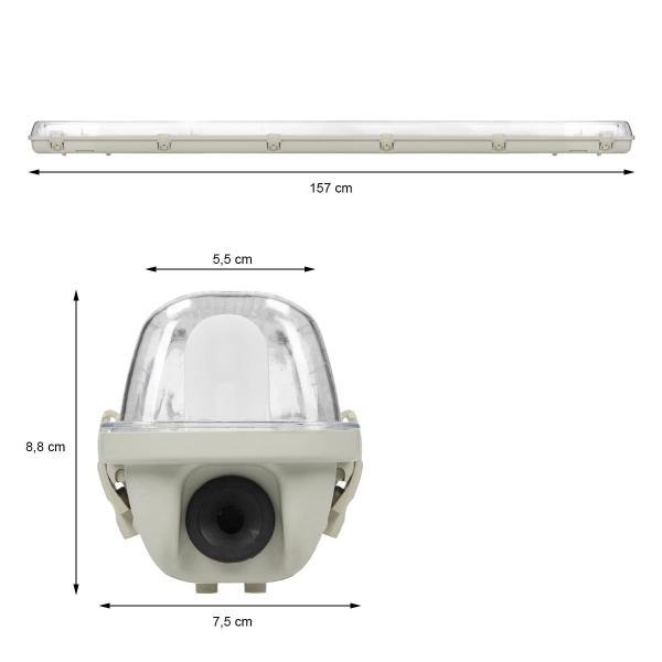 ECD Germany LED-fuktsäker armatur för 1 LED-rör T8 150cm med 1x