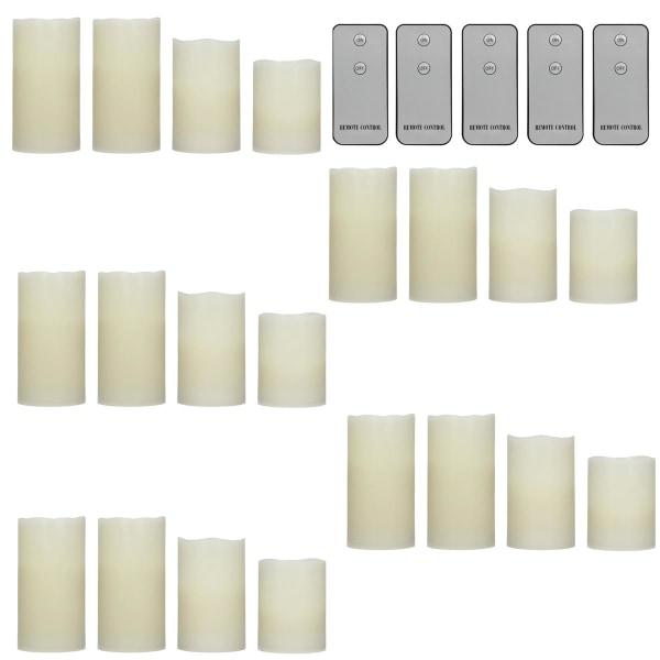 ECD Germany Set med 20 LED Ljus flamfri Real Wax Ljus - 10 / Vit