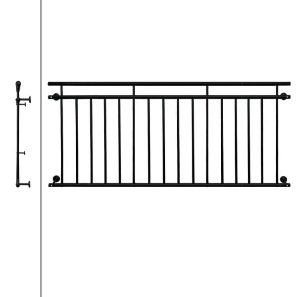 Fransk balkong fönster barer ståndare räcke 225 x 90 cm Svart