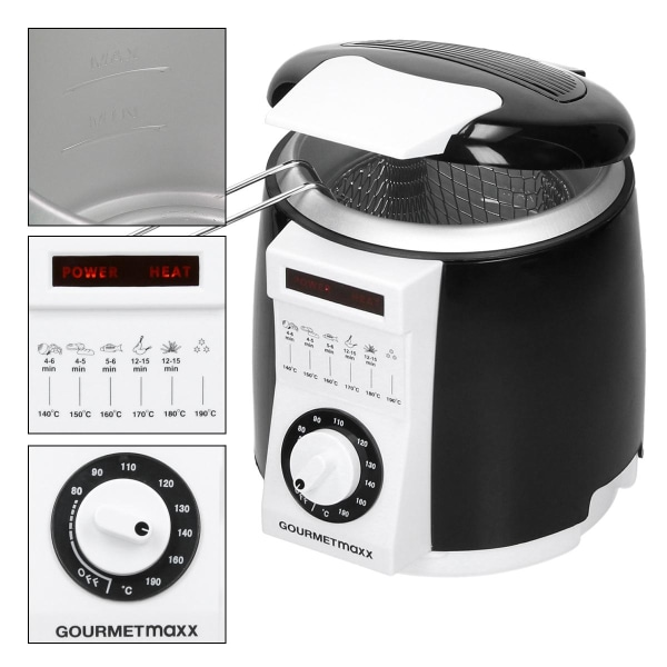 GOURMETmaxx mini friterare 840 watt 1 liter - justerbar