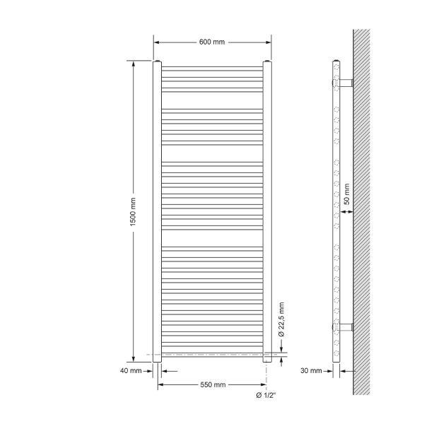 Handduks radiator med värmeelement 900 W ECD Germany Modell