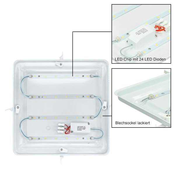 LED taklampa taklampa 30x30 cm 12W Aluminium Matt lampa lampa