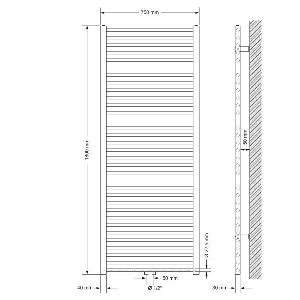 Radiator Handduk ECD Germany Modell Sahara 750 x 1800 mm krom