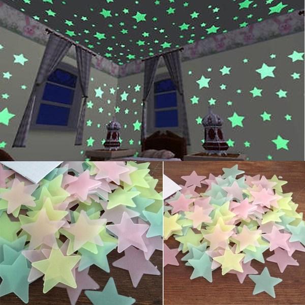 100 st / förp självlysande stjärnor vägg Klistermärke 3 Färger flerfärgad