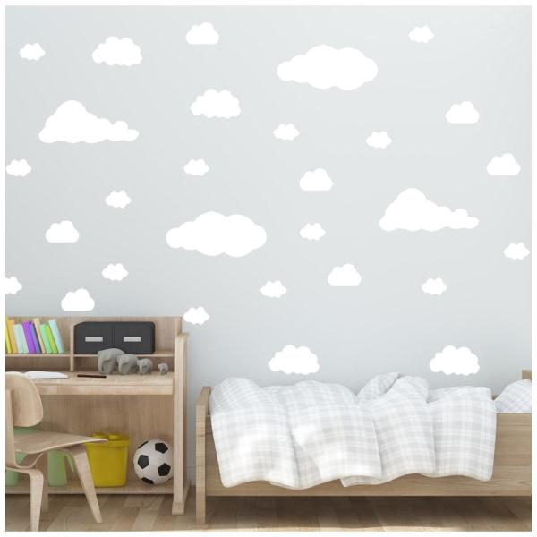 22 moln vinyl vägg klistermärken vit