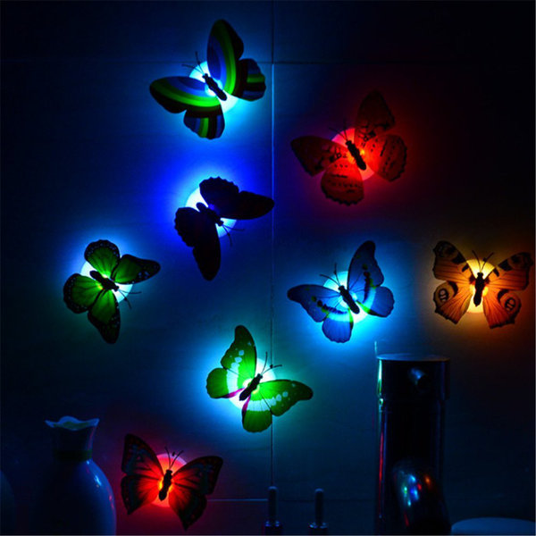 2st Härliga fjäril LED nattlampa klistermärke