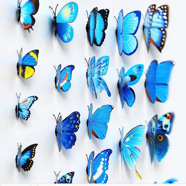 Fjäril väggdekorationer 3D med magneter 12 st / förp Blå blå